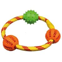 Trixie Dentafun Kroužek z lana se třemi míčky, 20 cm
