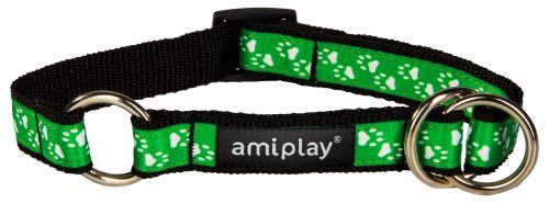 Obojek pro psa polostahovací nylonový - zelený se vzorem tlapka - 1,5 x 25 - 40 cm