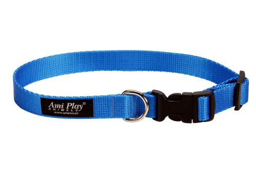 Obojek pro psa nylonový - modrý - 2,5 x 45 - 70 cm