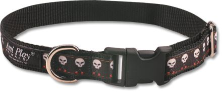 Obojek pro psa nylonový - černý se vzorem lebka - 2 x 24 - 42 cm