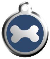 Red Dingo Známka modrá vzor kost - velikost S, 20 mm