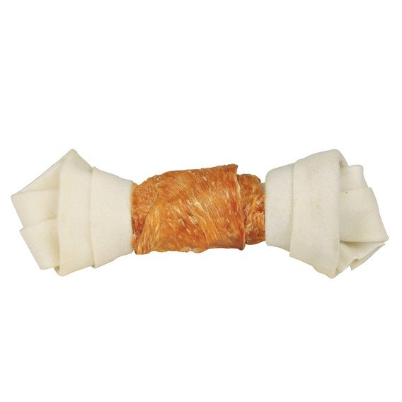 Trixie Dentafun Uzel z buvolí kůže svázaný kuřecím masem, 11 cm, 2 ks
