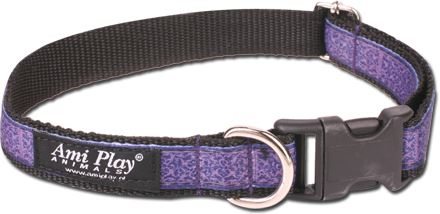 Obojek pro psa nylonový - fialový se vzorem - 2,5 x 45 - 70 cm
