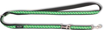 Vodítko pro psa přepínací nylonové - zelené se vzorem tlapka - 2 x 100 - 200 cm