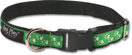 Obojek pro psa nylonový - zelený se vzorem tlapka - 2,5 x 45 - 70 cm