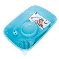Set pro kotě Argi - toaleta, lopatka, miska a míček - modrý - 37 x 27 x 8,5 cm