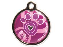 Známka ROGZ Metal Pink Paw kovová L