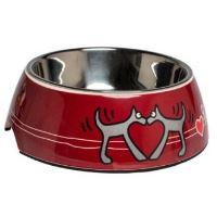 Rogz Bowlz Bubble - Miska pro psy nerezová a plastová vzor Red Heart, 700 ml