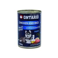 Konzerva pro psy Ontario Puppy Chicken, Rice and Linseed Oil 400g