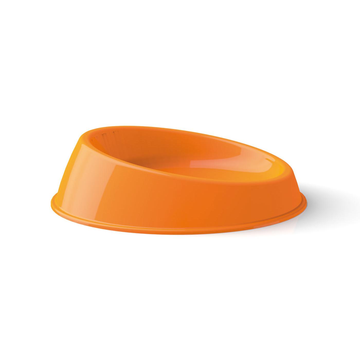 Plastová miska pro kočky Argi - zkosená - oranžová - 19 x 5 cm
