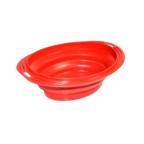Silikonová cestovní miska oválná Argi - červená - 1000 ml