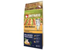 ONTARIO Dog Adult Medium Chicken & Potatoes & Herbs 12 kg + 2,25 kg ZDARMA