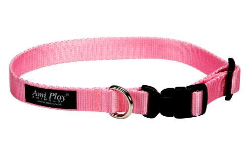 Obojek nylonový - růžový - 1 x 20 - 35 cm