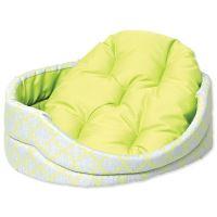Pelíšek DOG FANTASY ovál s polštářem ornament zelený 102 cm
