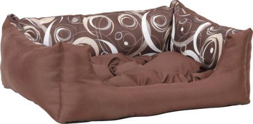 Pelech pro zvířata Argi obdélníkový s polštářem - hnědý se vzorem - 45 x 35 x 18 cm