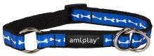 Obojek pro psa polostahovací nylonový - modrý se vzorem kost - 1,5 x 25 - 40 cm