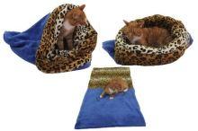 Spací pytel 3v1 XL pro kočky č.8 modrá/leopard