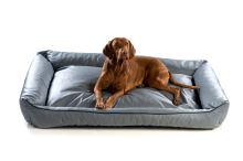 Pelech pro psa Argi obdélníkový - snímatelný potah z eko kůže - šedý - 120 x 90 cm