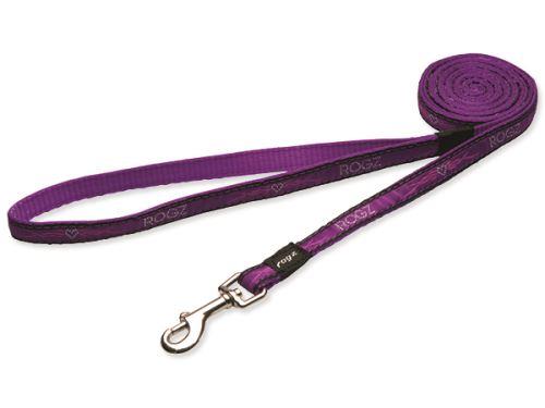 Nylonové vodítko pro psy - Rogz Fancy Dress Purple Chrome - 2,5 x 180 cm
