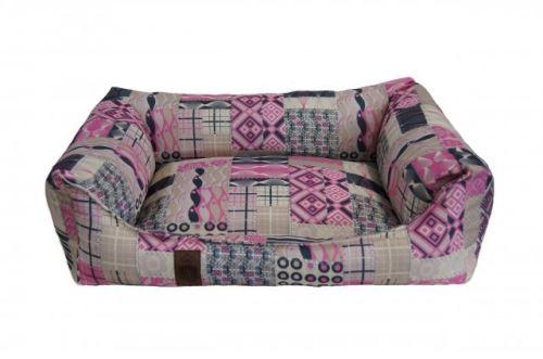 Pelech pro psa Argi obdélníkový - snímatelný potah z polyesteru - Rosie - 70 x 55 cm
