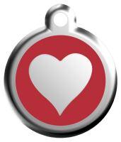 Red Dingo Známka červená vzor srdce - velikost S, 20 mm