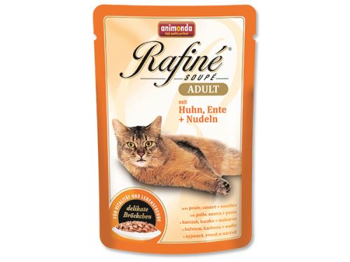 Animonda Rafine Soupe Kapsička - kuře & kachna & těstoviny pro dospělé kočky 100 g