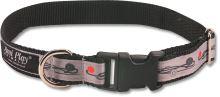 Obojek pro psa nylonový - bezpečnostní - šedý se vzorem květina - 2,5 x 53 - 85 cm