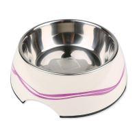 Miska DOG FANTASY nerezová kulatá purpurové vlnky 17,5 cm