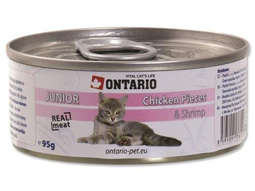 Ontario Junior Chicken Pieces & Shrimp konzerva - kuřecí kousky & garnát pro koťata 95 g
