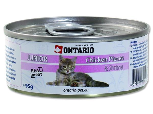 Ontario Junior Chicken Pieces & Shrimp - kuřecí & garnát pro koťata 95 g