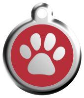 Red Dingo Známka červená vzor tlapka - velikost S, 20 mm