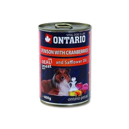 Ontario Venison, Cranberries, Safflower Oil konzerva - zvěřina, brusinka & světlicový olej pro dospělé psy 400 g