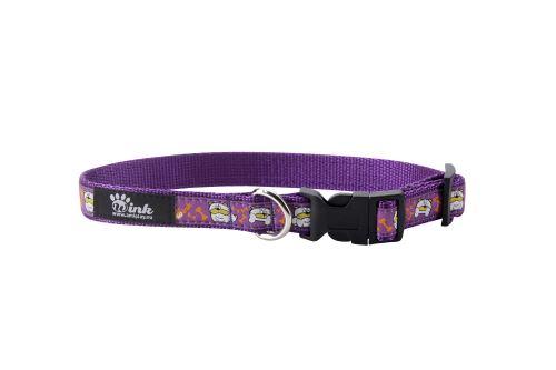 Obojek nylonový - fialový se vzorem pes  - 1 x 20 - 35 cm