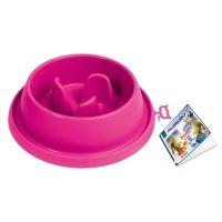 Plastová miska proti hltání s protiskluzem Argi - růžová - 31,5 x 9 cm