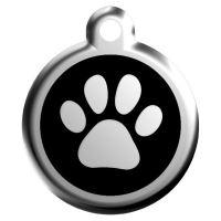 Red Dingo Známka černá vzor tlapka - velikost L, 37 mm
