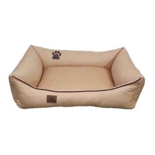 Pelech pro psa Argi obdélníkový - snímatelný potah z polyesteru - béžový - 90 x 70 cm