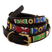 Non-Stop Dogwear Color Masajský kožený obojek, velikost 22