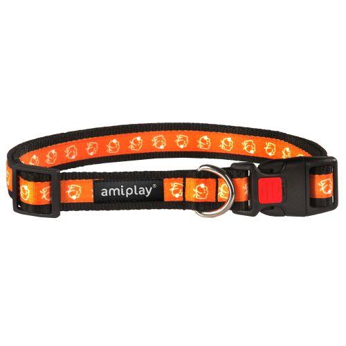 Obojek pro psa nylonový - bezpečnostní - oranžový se vzorem pes - 2,5 x 53 - 85 cm