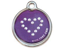 Rogz Purple Chrome Kovová známka pro psy - velikost L, průměr 31 mm