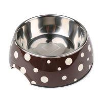 Miska DOG FANTASY nerezová hnědá + bílé puntíky 17,5 cm - 350 ml
