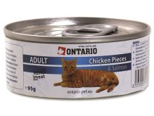 Konzerva pro kočky Ontario Chicken Pieces + Salmon 95 g