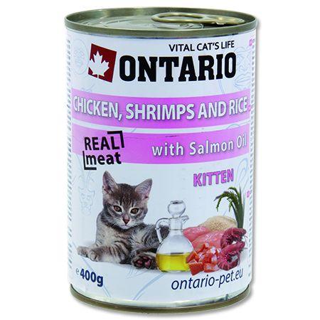 Konzerva pro kočky Ontario Kitten Chicken, Shrimp, Rice and Salmon Oil 400 g