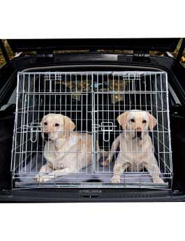 Trixie Kovová klec do auta skosená se dvěma dvířky pro 2 psy, 93x68x79 cm