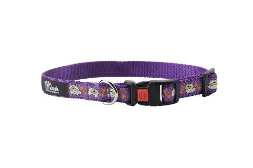Obojek pro psa nylonový - bezpečnostní - fialový se vzorem pes - 1,5 x 25 - 40 cm